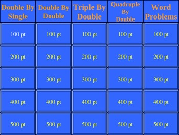Division of Whole Numbers & Problem Solving Jeopardy (Game)