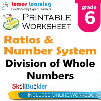 Division of Whole Numbers Printable Worksheet, Grade 6