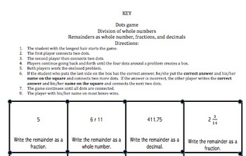 Division of Whole Numbers (With Remainders) Dots Game