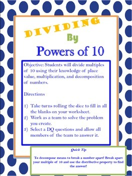 Division of Whole Numbers and Decimal Fractions Common Core Math Stations