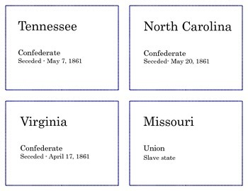 Division of the Union - State Review Flashcards