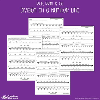Division on a Number Line Worksheets