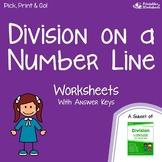 Beginner Division On A Number Line Worksheets, Dividing Into Equal Parts
