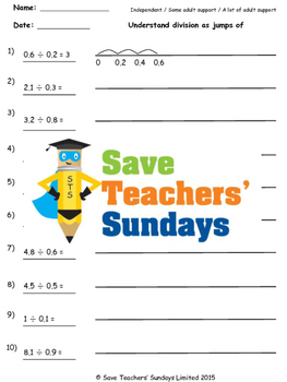 Division on a Number Line Worksheets (4 levels of difficulty)