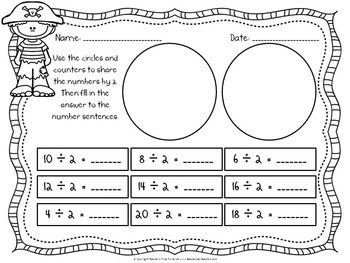 Division printables and task cards - Pirate Theme