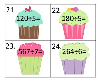 Division--slide show, center activity, worksheets--Cupcake Theme