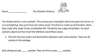 Division (up to 4-by-1) with Remainders--The Wasteful Waltons!