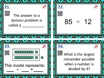 Division with Remainders -BUNDLE  Bingo/Task Cards/Independent Printables