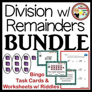 Division with Remainders -BUNDLE  Bingo/Task Cards/Worksheets w/ Riddles!