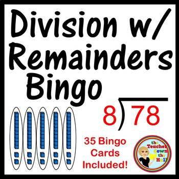 Division with Remainders Bingo - Classroom Game w/ 35 Bingo Cards!