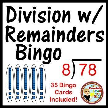 Division with Remainders Bingo -Classroom Game 35 Bingo Cards!