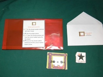 Division w/5's &10's-Teacher made math center-file folder game-learning activity