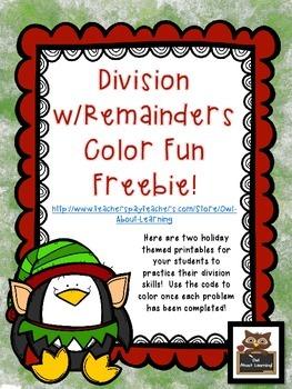 Division w/Remainders Christmas Freebie!