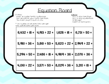 Division with 2 Digit Divisor Game- Three in a Row
