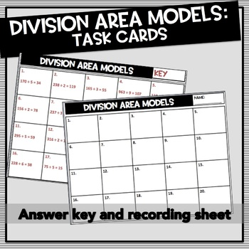 Division with Area Models Task Cards