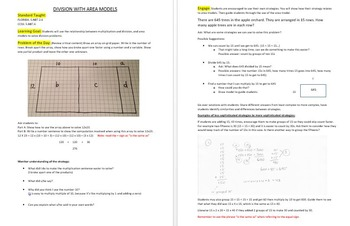 Division with Area Models and Partial Quotients