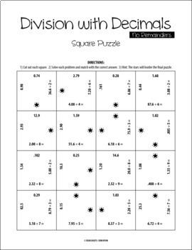 Division with Decimals - No Remainders - Square Puzzle