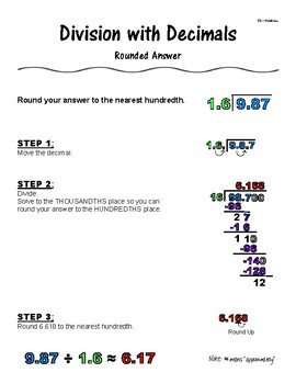 Division with Decimals Rounded Answer