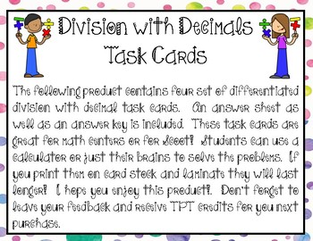 Division with Decimals Task Cards (4 sets)