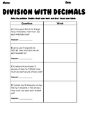 Division with Decimals Word Problems Practice Sheet