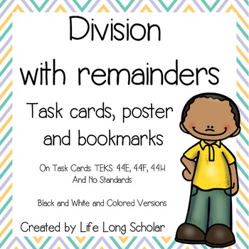 Division with Interpreting Remainders Task Cards and Bookmarks