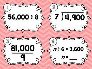 Division with Mental Math & Place Value Patterns Task Cards {TEKS 4.4F & 4.4G}