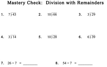 Division with Remainders, 3rd grade - Individualized Math - worksheets