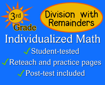 Division with Remainders, 3rd grade - worksheets - Individualized Math