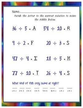 Division with Remainders Activities