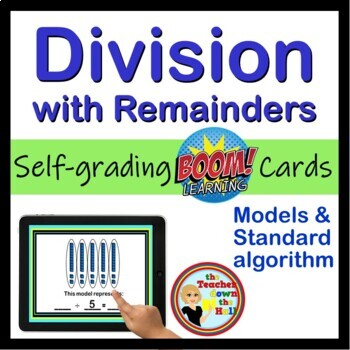 Division with Remainders BOOM Cards! (24 Self-checking Boom Cards)