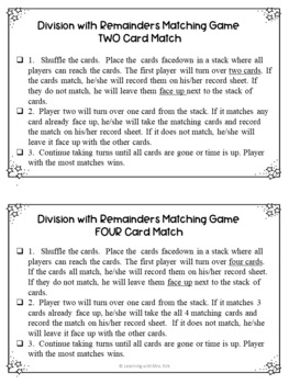 Division with Remainders Card Game