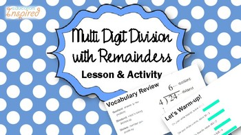 Division with Remainders Lesson and Activity