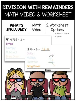 Division with Remainders Math Video and Worksheet