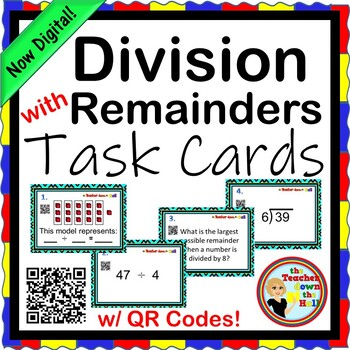 Division with Remainders Task Cards w/ QR Codes