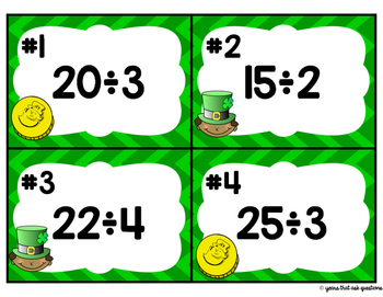 Division with Remainders Task Cards for St. Patrick's Day