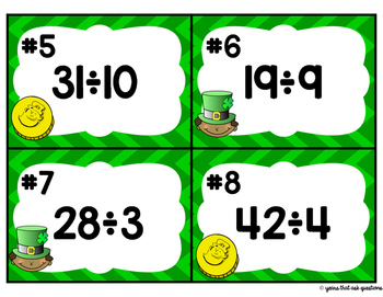 Division with Remainders Task Cards   St. Patrick's Day Math Activity
