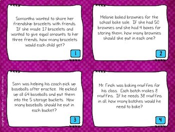 Division with Remainders Word Problem Task Cards: Grade 4-5