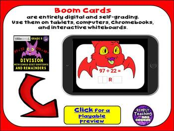 Division with Single-Digit Quotients and Remainders Digital Boom Cards Eureka 2