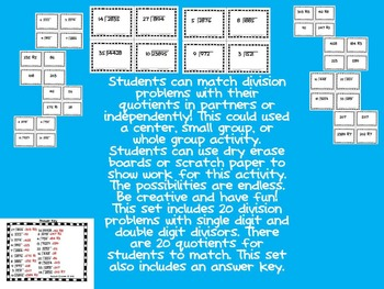 Division with Single Digit and Double Digit Divisor Match