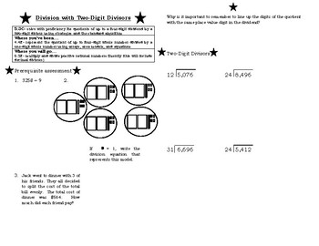 Division with Two-Digit Divisors, TEKS 5.3C, Guided Notes