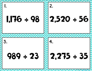 Division {with Two Digit Divisors} Task Cards