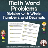 Division with Whole Numbers and Decimals Editable Word Problems