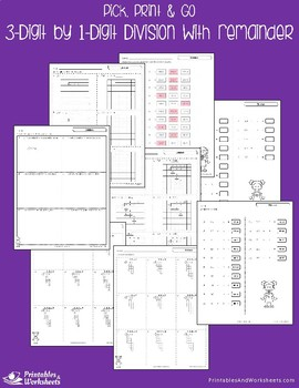 Division with With Remainder - Dividing 3-Digit by 1-Digit Numbers Worksheets
