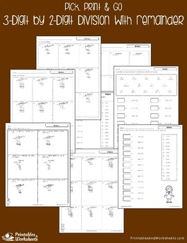 Division with With Remainder - Dividing 3-Digit by 2-Digit Numbers Worksheets