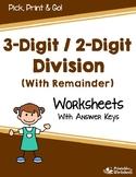3 Digit Long Division Drill Sheets, Division Worksheets No Remainder