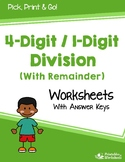 4 Digits Divide By 1 Digit Number With Remainder, Long Division Packet Worksheet