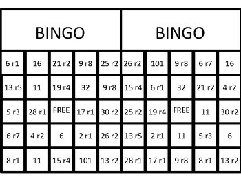 Division with a Remainder Bingo