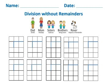 Division with no remainder Blank Practice Sheet