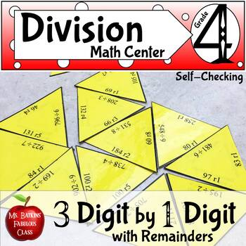Division with remainders Three Digit by One Digit Math Center Activity