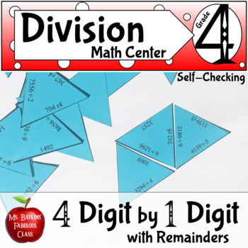 Division with remainders 4 digit by 1 digit Math Center Activity